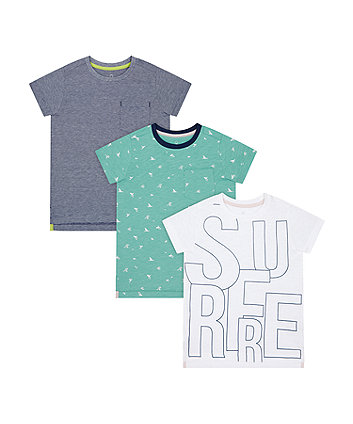 Mothercare Surfer, Aqua And Stripe T-Shirts - 3 Pack