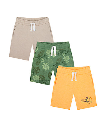 Mothercare Yellow, Grey And Striped Shorts - 3 Pack