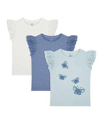 Mothercare Butterfly, White And Blue T-Shirts - 3 Pack