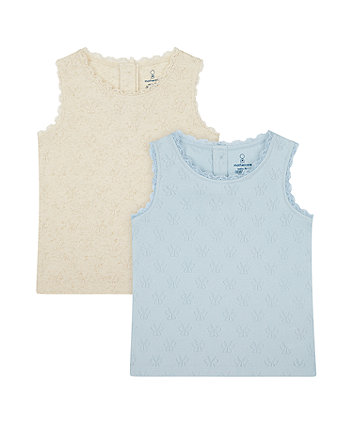Mothercare Pointelle Vest T-Shirts - 2 Pack