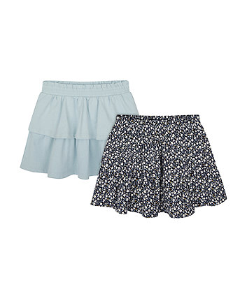 Mothercare Blue And Navy Floral Skirts - 2 Pack