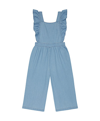 Mothercare Chambray Wide-Leg Frilled Dungarees