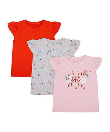 Mothercare La Vie Est Belle T-Shirts - 3 Pack