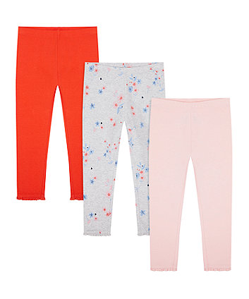Mothercare Red, Pink And Floral Leggings - 3 Pack