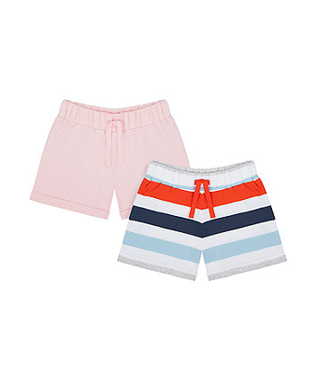 Mothercare Pink And Striped Jersey Shorts- 2 Pack