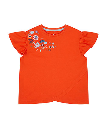 Mothercare Red Embroidered T-Shirt