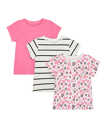 Mothercare Pink, Striped And Leopard-Print T-Shirts - 3 Pack