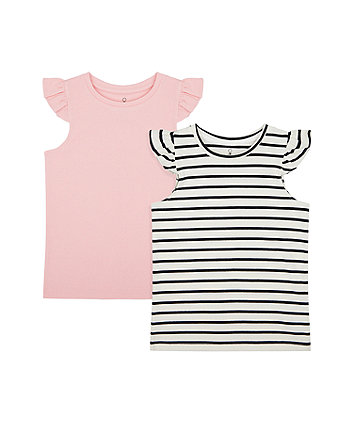 Mothercare Pink And Striped Vest T-Shirts - 2 Pack
