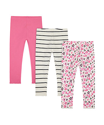 Mothercare Pink, Stripe And Leopard-Print Leggings - 3 Pack