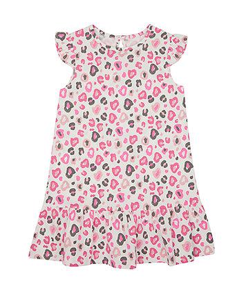 Mothercare Pink Leopard-Print Drop-Waist Jersey Dress