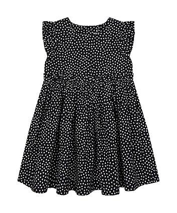 Mothercare Black Heart-Print Woven Dress