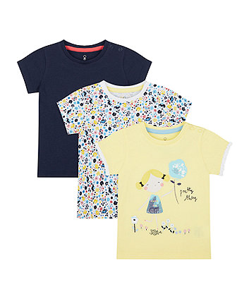 Mothercare Pretty Thing T-Shirts - 3 Pack