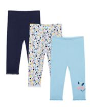 Mothercare Navy, Floral And Cherry Leggings - 3 Pack