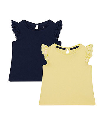 Mothercare Navy And Yellow Vest T-Shirts - 2 Pack