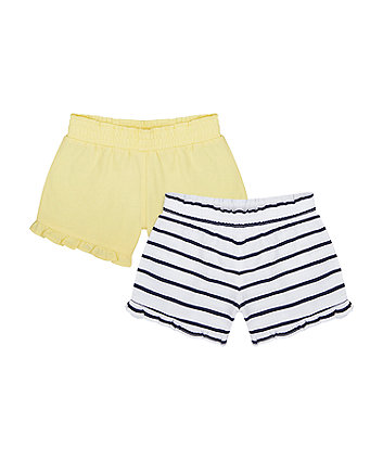 Mothercare Navy Stripe And Yellow Shorts - 2 Pack
