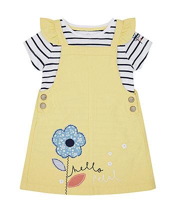 Mothercare Yellow Denim Pinny Dress And T-Shirt Set