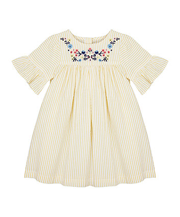 Mothercare Yellow Seersucker Embroidered Dress