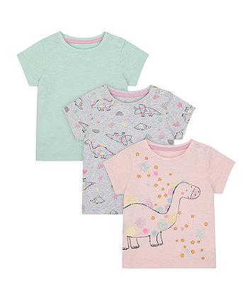 Mothercare Magical Rainbow Dinosaur T-Shirts - 3 Pack