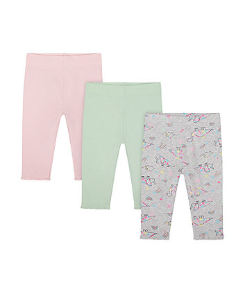 Mothercare Magical Rainbow And Plain Leggings - 3 Pack