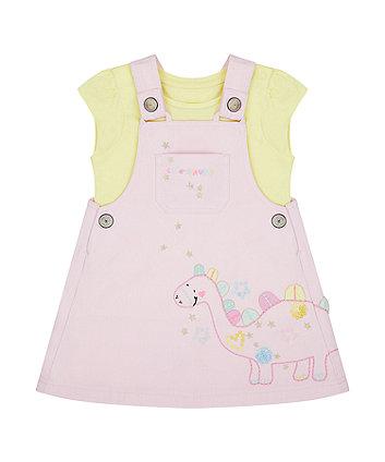 Mothercare Dino Pinny Dress And T-Shirt Set