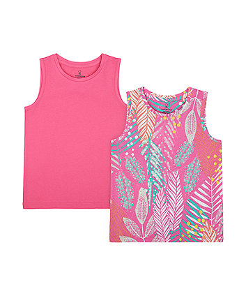 Mothercare Pink And Print Vest T-Shirts - 2 Pack