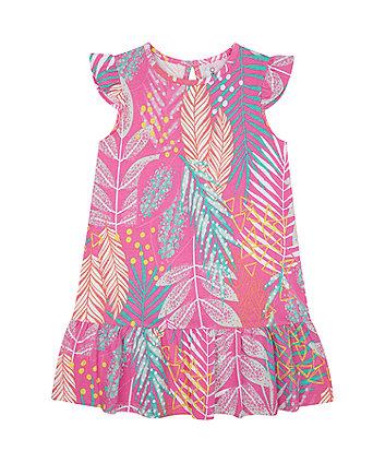 Mothercare Pink Printed Drop-Waist Jersey Dress