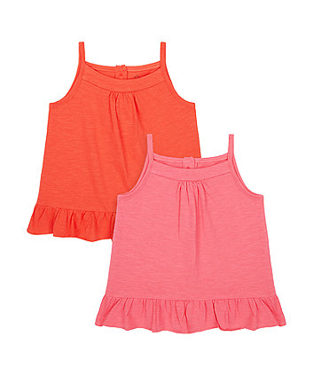 Mothercare Pink And Coral Vest T-Shirts - 2 Pack