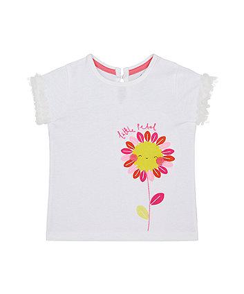 Mothercare White Flower T-Shirt