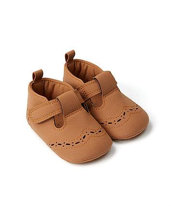 Mothercare Tan T-Bar Pram Shoes