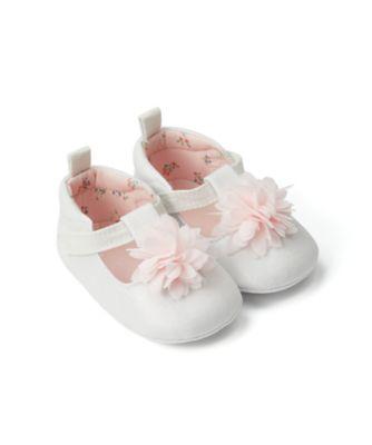Mothercare Baby Girl Cream 3D Flower Pram Shoe