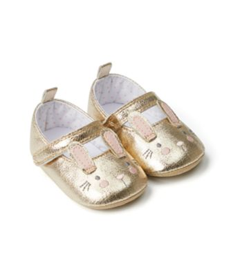 Mothercare Baby Girls Gold Bunny Novelty Ballerina Pram Shoe