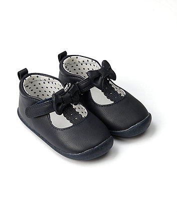 Mothercare Navy T-Bar Crawler Shoes