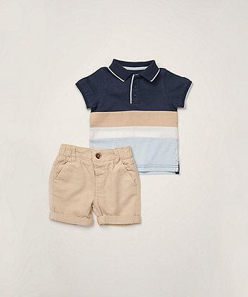 Mothercare Multi-Stripe Polo Shirt And Woven Shorts Set
