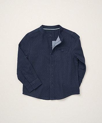 Mothercare Navy Polka Dot Grandad Shirt