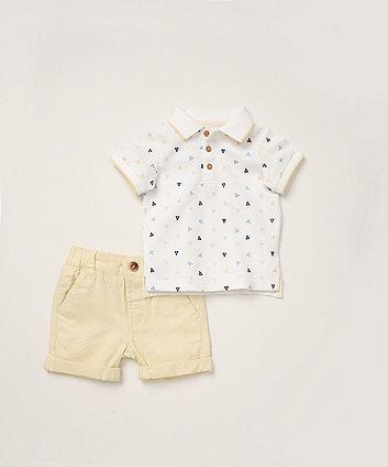 Mothercare White Polo Shirt And Woven Shorts Set