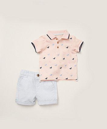 Mothercare Pink Dino Polo Shirt And Woven Shorts Set