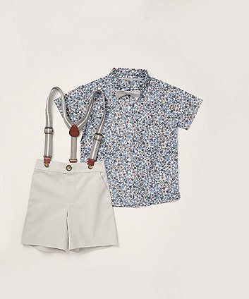 Mothercare Floral Shirt, Bow Tie And Shorts With Braces Set