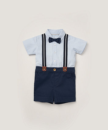 Mothercare Gingham Shirt, Bow Tie And Shorts With Braces Set