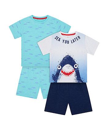 Mothercare Sea You Later Shark Shortie Pyjamas - 2 Pack