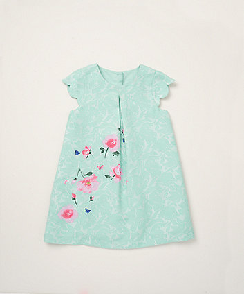 Mothercare Mint Scallop Sleeve Dress