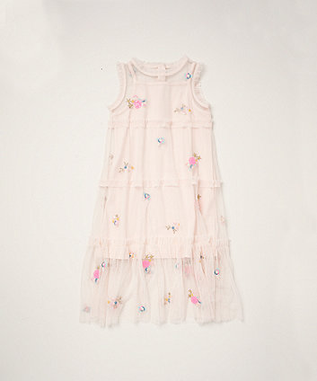 Mothercare Pink Mesh Tiered Dress