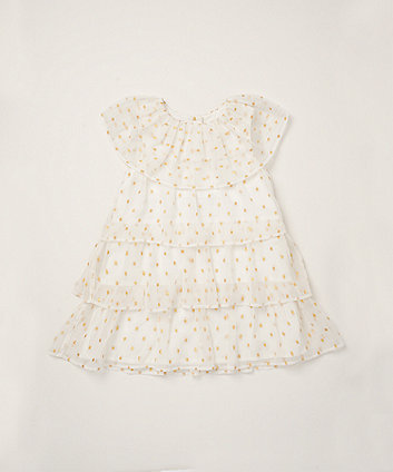 Mothercare Gold Dobby Spot Tiered Dress