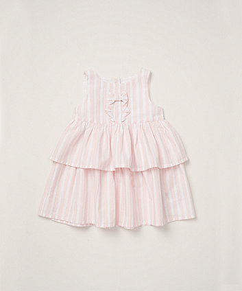 Mothercare Pink Striped Tiered Dress With Bow