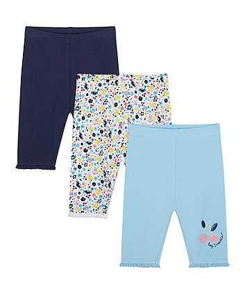 Mothercare Navy, Floral And Cherry Cropped Leggings - 3 Pack