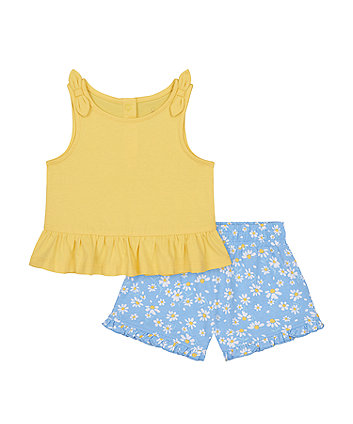 Mothercare Yellow Vest T-Shirt And Daisy Shorts Set