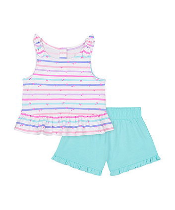Mothercare Striped Vest T-Shirt And Turquoise Shorts Set