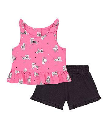 Mothercare Pink Zebra Vest T-Shirt And Grey Shorts Set