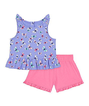 Mothercare Purple Butterfly Vest T-Shirt And Pink Shorts Set