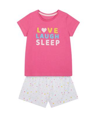 Mothercare Girls Love Laugh Sleep Shortie Pyjamas