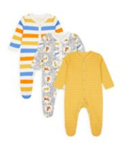 Mothercare Leopard, Stripe And Mustard Sleepsuits - 3 Pack